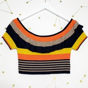 UO • Striped Ruffle Sweater Crop Top Off Shoulder